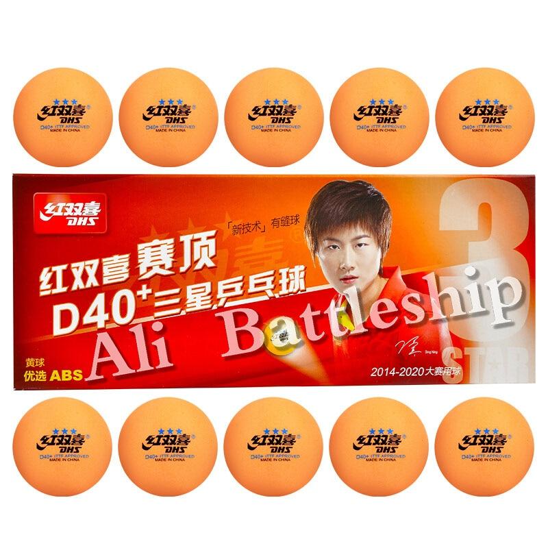 DHS 2018 New 3-Star D40+ (Orange) Table Tennis Balls (3 Star Seamed ABS Balls) Plastic Poly Ping Pong Balls