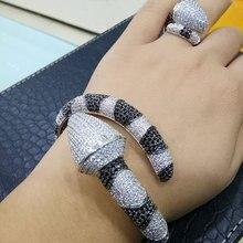 Godki luxo cobra africano bangle anel conjunto moda conjuntos de jóias para o casamento feminino noivado brincos para como mulheres 2018