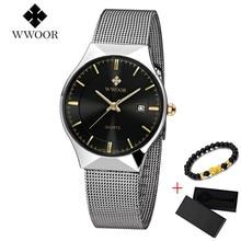 Marke WWOOR Dünne Uhr Männer Luxus Quarz Armbanduhr Datum 50m Wasserdichte Uhr Männlichen Casual Handgelenk Uhren relogio masculino 2019