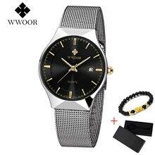 מותג WWOOR דק שעון גברים יוקרה קוורץ שעון יד תאריך 50m עמיד למים שעון זכר מזדמן יד שעונים relogio masculino 2019