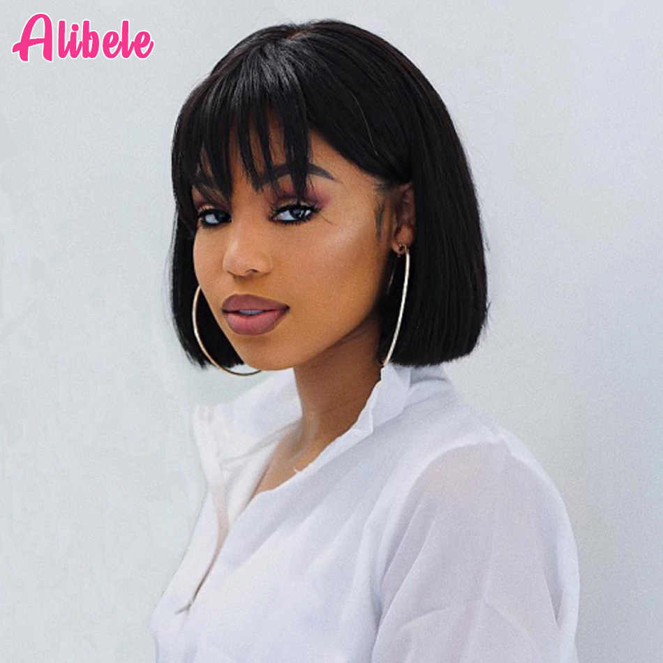 Alibele 10inch Short Bob Wig With Fringe Bangs Pre Plucked Bob Full Wig Machine Made Human Hair Wigs With Bangs Natural Black