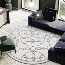 Retro European style round shaped living room area rug , post-modern geometric bedside carpet