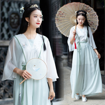 Women Green Hanfu Classical Dance Costume Embroidery Fairy Dress Folk Festival Outfit Song Dynasty Performance Clothes DF1445