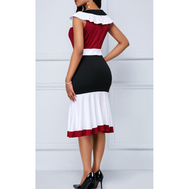 Patchwork Summer Dress Women 2019 Casual Plus Size Slim Ruffles Office A Line Dresses Elegant Vintage Sexy Long Party Dress 5XL 4