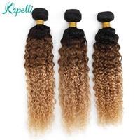 Ombre Kinky Curly Bundles Brazilian Human Hair Weave Bundles 1b/30/27 Non Remy Hair Extensions Blonde Bundles 3 /4 Bundles