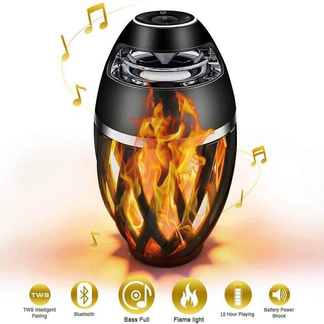 Flame Speakers Torch Atmosphere Speaker Bluetooth Wireless Portable Outdoor HD Audio Waterproof Speaker with LED Flickers Lights