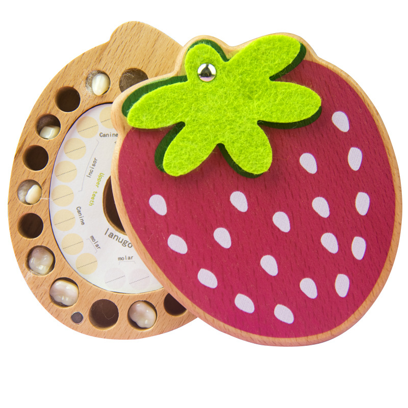 Strawberry Shape Wooden Crafts Deciduous Teeth Baby Hair Deciduous Teeth Storage Box Baby Tooth Box Organizer English Japanese