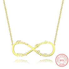 925 Sterling Sliver Name Necklaces Fashion Gold Pendant Personalized 4 Names Engraved Charm Jewelry Anniversary Gift for Women(China)