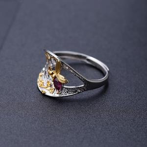 Image 4 - GEMS บัลเล่ต์ 925 เงินสเตอร์ลิง Golden Honeycomb แหวน 0.28Ct Rhodolite NATURAL GARNET Handmade แหวนสำหรับเครื่องประดับ