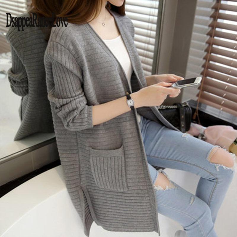 Hot Sale 2019 Spring Autumn New Women Sweater Casual Long Cardigan Fashion Korean Slim Pocket Loose Knit Sweater Outwear Coat