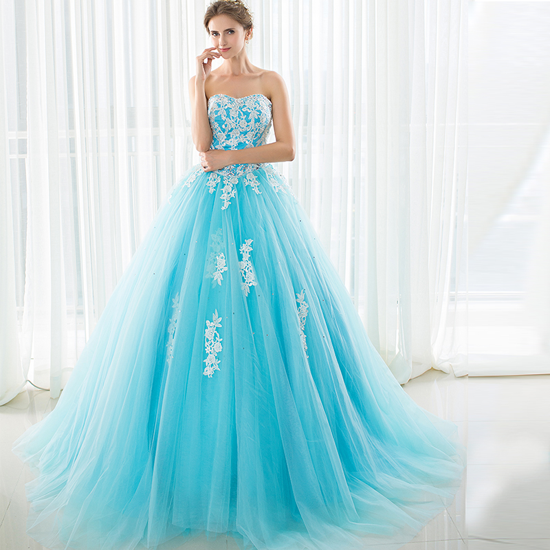 Elegant Blue Lace Up Floor Length Dress For Wedding Party Women Evening Dresses in Evening Dresses from Weddings Events