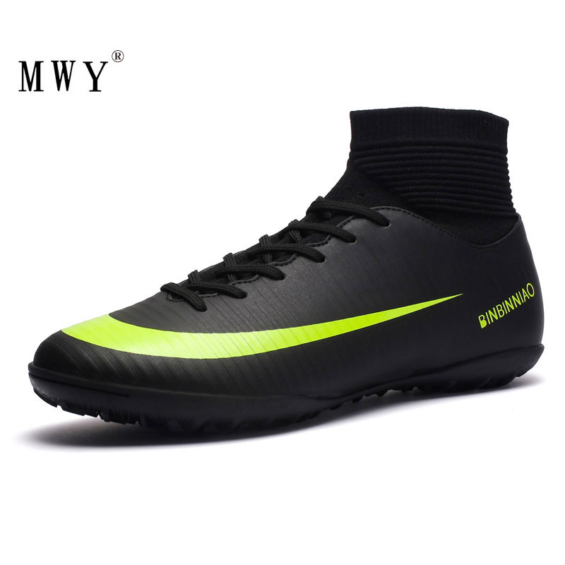 MWY Football Boots Men Cleats Sports Shoes High Top Black Sneakers Indoor Turf Futsal Soccer Shoes Men Voetbal Schoenen Trainer