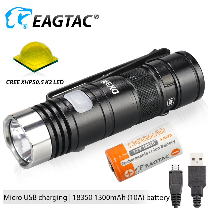 EAGTAC DX3B MINI PRO XHP50.2 2480 Lumen Rechargeable LED Flashlight Programmable Output EDC Torch Super Powerful 18350 Battery image