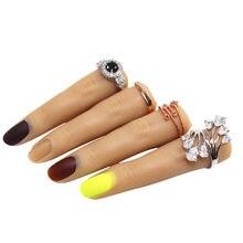 Prática silicone dedo flexível para unhas manicure dedos ferramenta de treinamento