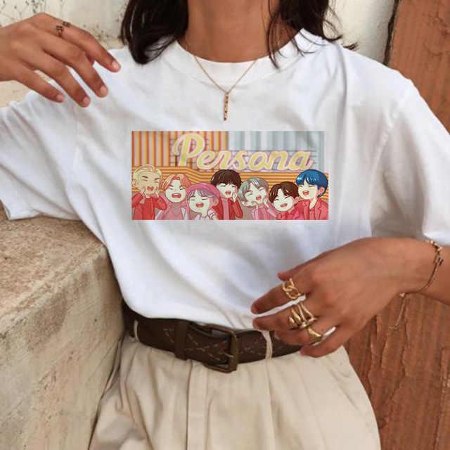 Harajuku T เสื้อผู้หญิง RM J-Hope ฿ Ulzzang เสื้อยืด Hope World เสื้อการ์ตูน TOP TEE หญิง