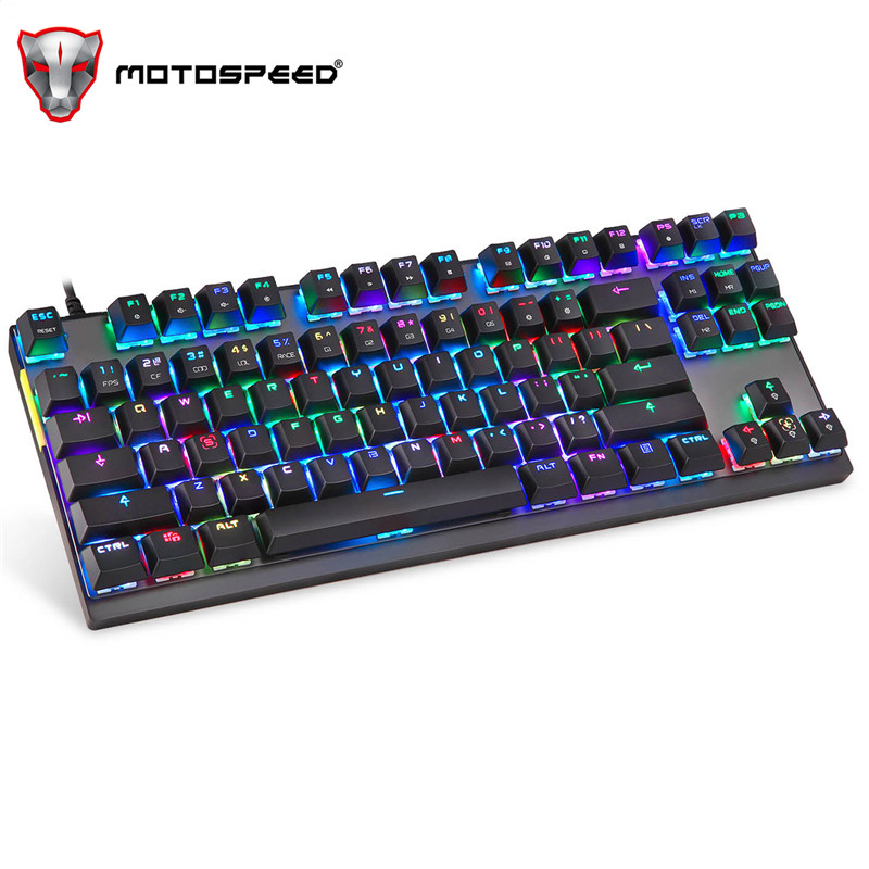 MotoSpeed K82 Backlight Professional Computer Gaming Mechanical Keyboard RGB LED USB Wired 87 Keys For Esports games