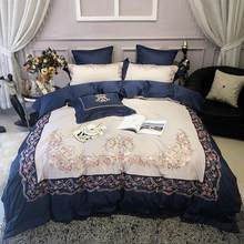 43 Embroidery Egyptian Cotton Bedding Set King size Queen Bed set Flat Bed Sheet set Duvet Cover Fitted sheet parure de lit(China)