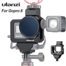 Ulanzi المعادن فلو قفص الحال بالنسبة Gopro 8 الأسود الباردة الحذاء ميك محول الحال بالنسبة مصباح ليد ميكروفون Gopro البطارية ميك محول