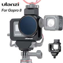 Ulanzi Metal Vlog CAGE สำหรับ GoPro 8 สีดำเย็นรองเท้าอะแดปเตอร์สำหรับไฟ LED ไมโครโฟน GoPro แบตเตอรี่อะแดปเตอร์