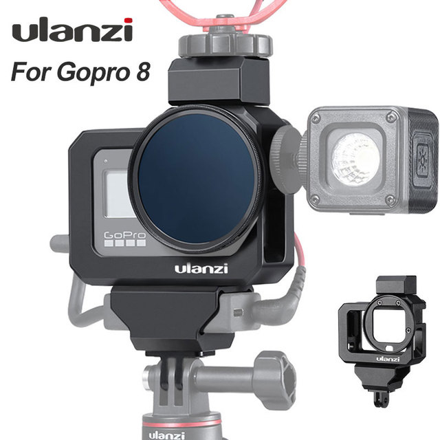 Ulanzi מתכת Vlog כלוב מקרה עבור Gopro 8 שחור קר נעל מיקרופון מתאם מקרה עבור LED אור מיקרופון Gopro סוללה מיקרופון מתאם
