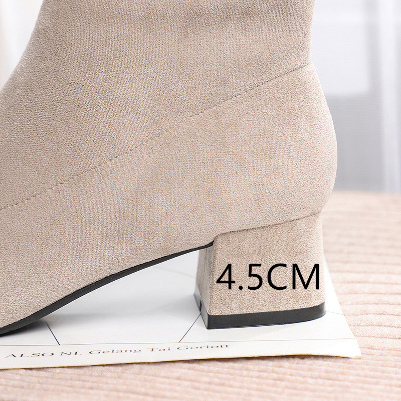 Image 5 - Botines Mujer 2019 Winter Boots Women Fashion Autumn Fur Heels Pointed Toe Flock Slip On Booties Punk Gothic Female Shoe Woman-in Ankle Boots from Shoes