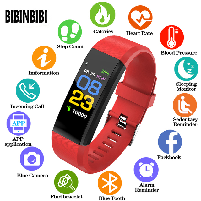 Horloge rastreador de ejercicios inteligente, dispositivo deportivo con control remoto, compatible con android e ios, 115 Plus, Gezondheid, Hartslag, Bloeddruk