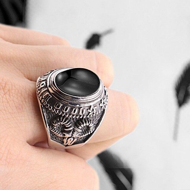 Valily mode religieux en acier inoxydable Cool Unique satan chèvre noir pierre anneau titane acier rétro vieux Totem bijoux pour homme
