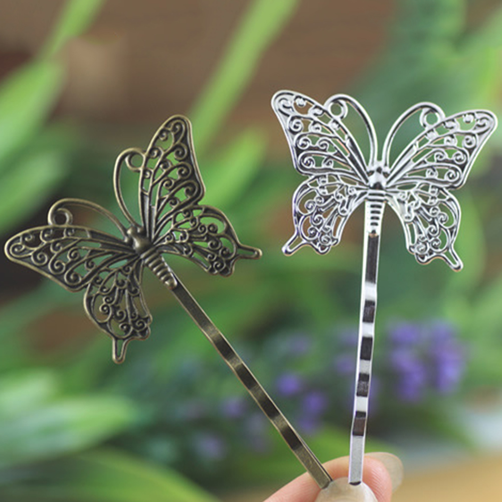 SN/_ EG/_ 10 Pcs Vintage Hollow Butterfly Charm Hair Clips Women DIY Bobby Pin S