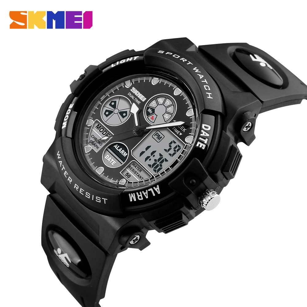Swim SKMEI Sports Kids Watches Children Waterproof Military Dual Display Wristwatches LED Waterproof Watch Montre For 8-18 Years