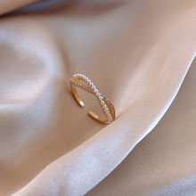2020 nowych moda perła kokarda błyszczące zakontraktowane drobny kryształ temperament regulowane kobiety pierścienie słodki joker