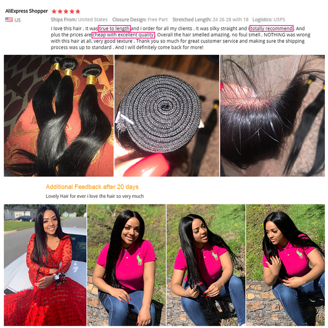 Extensiones de cabello humano liso con cierre de encaje, extensiones de pelo ondulado brasileño, Remy 6