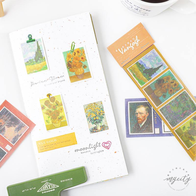 JIANWU Art Gallery Series Sulfuric Acid Sticker Van Gogh Famous Paintings DIY Decoration Sticker Bullet Journal School Supplies