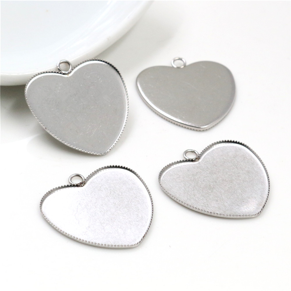 Never Fade 10pcs Fit 25mm Heart Stainless Steel Sawtooth Cameo Settings Cabochon Base Brass Copper Blank Tray Pendant -T7-40