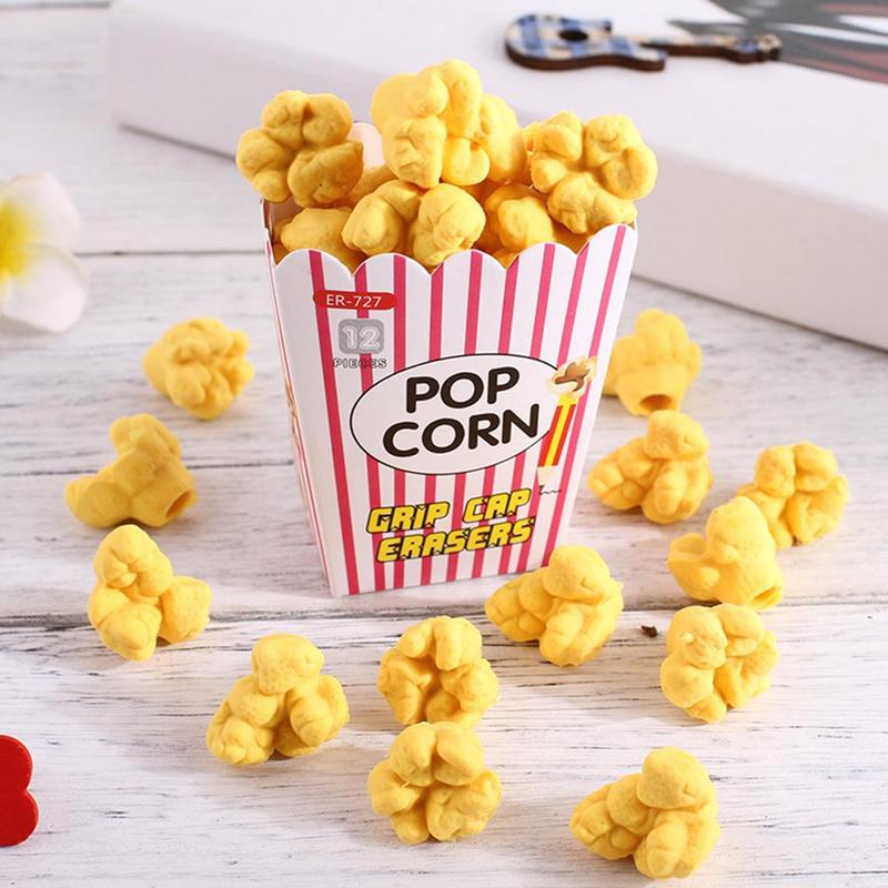 1 Box Kawaii Food Popcorn Rubber Eraser Children Stationery School Supplies Rubber Pencil Erasers Correction Kids Girl Toy Gift