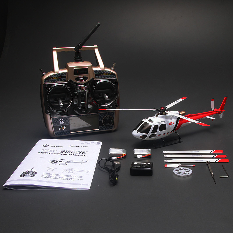 Weili V931 2.4G Remote Control Stand-up Six-Channel Non-Aileron Airplane AS350 Brushless Helicopter Model Airplane