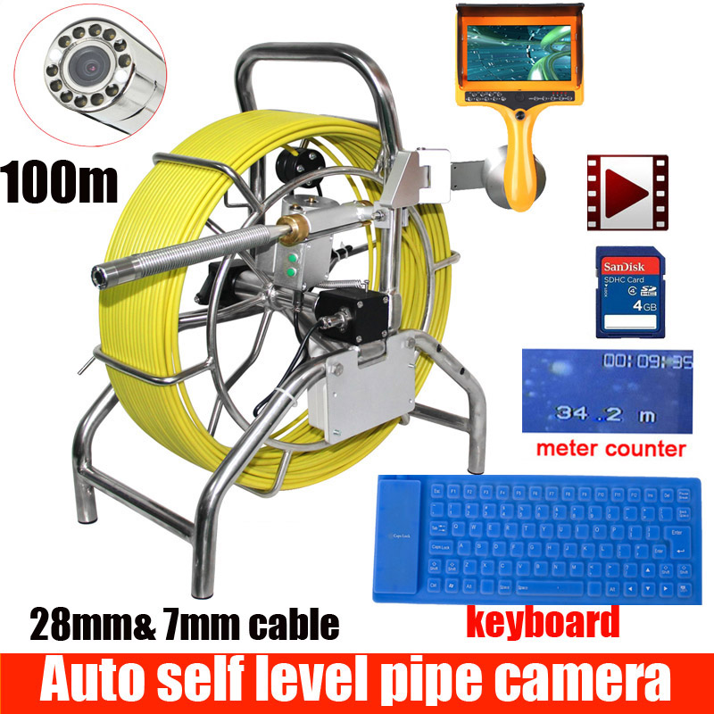 100M Sewer Waterproof Camera Water Pipe Well Self Level Auto Balance Sewer Pipe Inspection Camera With Meter Counter With Monito