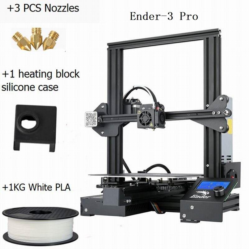 CREALITY 3D impresora Ender 3Pro DIY Kit v slot gran tamaño regalo boquillas y bloque calefactor funda de silicona + PLA