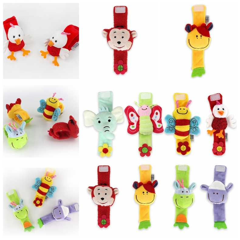 Baby Toys Wrist Rattle Animal Crib Newborn Plush Hand Rattles Bed Educational Toy For Children Stroller Stroller Hanging Rattles