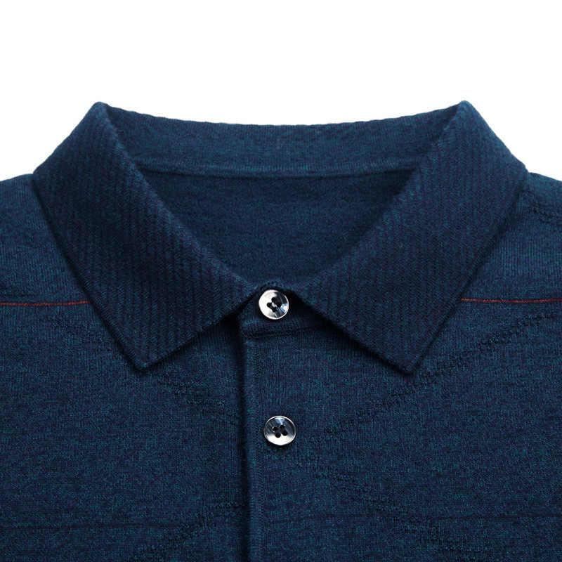 Die neue herbst 2019 männlichen revers jacquard stricken übertragen unliniertes oberes kleid dad setzt mit dünnen langen hülse pullover