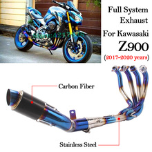 Full System Motorcycle Exhaust For Kawasaki Z900 2017 2018 2019 2020 Years Modified Carbon Fiber Muffler Front Middle Link Pipe ninja400 motorcycle full exhaust system modified front middle pipe laser carbon muffler slip on for kawasaki ninja 400 z400 2018