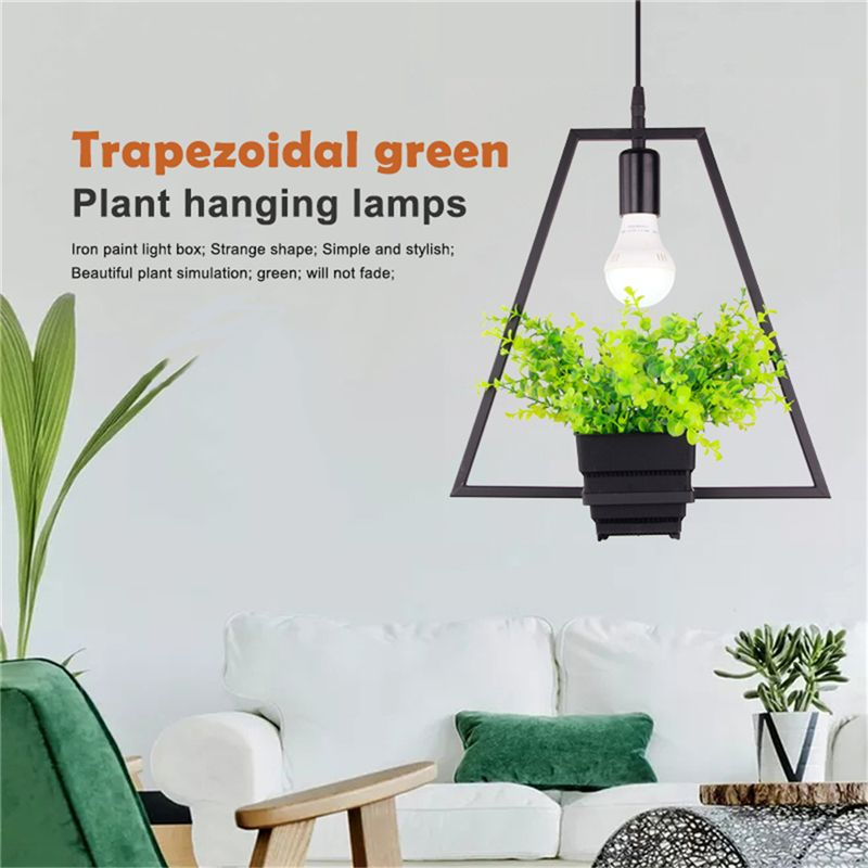 Black Trapezoidal Green Plant Hanging Lamp Retro Industrial Style Creative Personality Chandelier Clothing Shop Cafe Restaurant