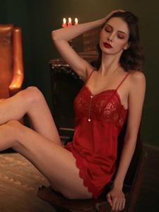 Image 3 - 夏セクシーなランジェリー女性絹のような通気性のタイトな誘惑夫ショートストラップ寝間着女性メッシュレースサテン寝間着