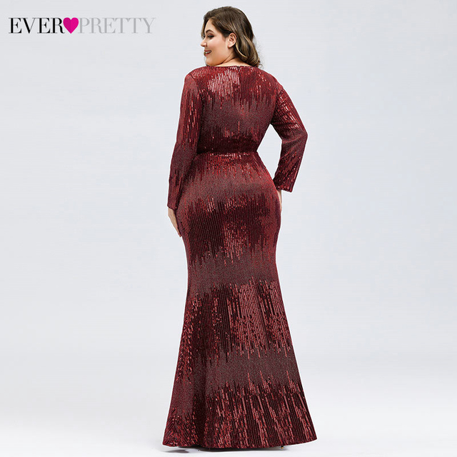 Plus Size Sequined Evening Dresses Ever Pretty Mermaid Deep V-Neck Long Sleeve Sexy Sparkle Evening Gowns Abiye Gece Elbisesi 1