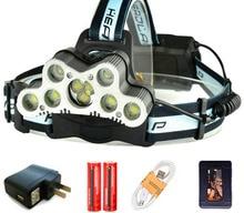 New 20000LM 7xT6 9 LED Headlamp Fishing Headlight USB Rechargeable Hunting Light Led Flashlight Torch +2x 18650 Battery Q4