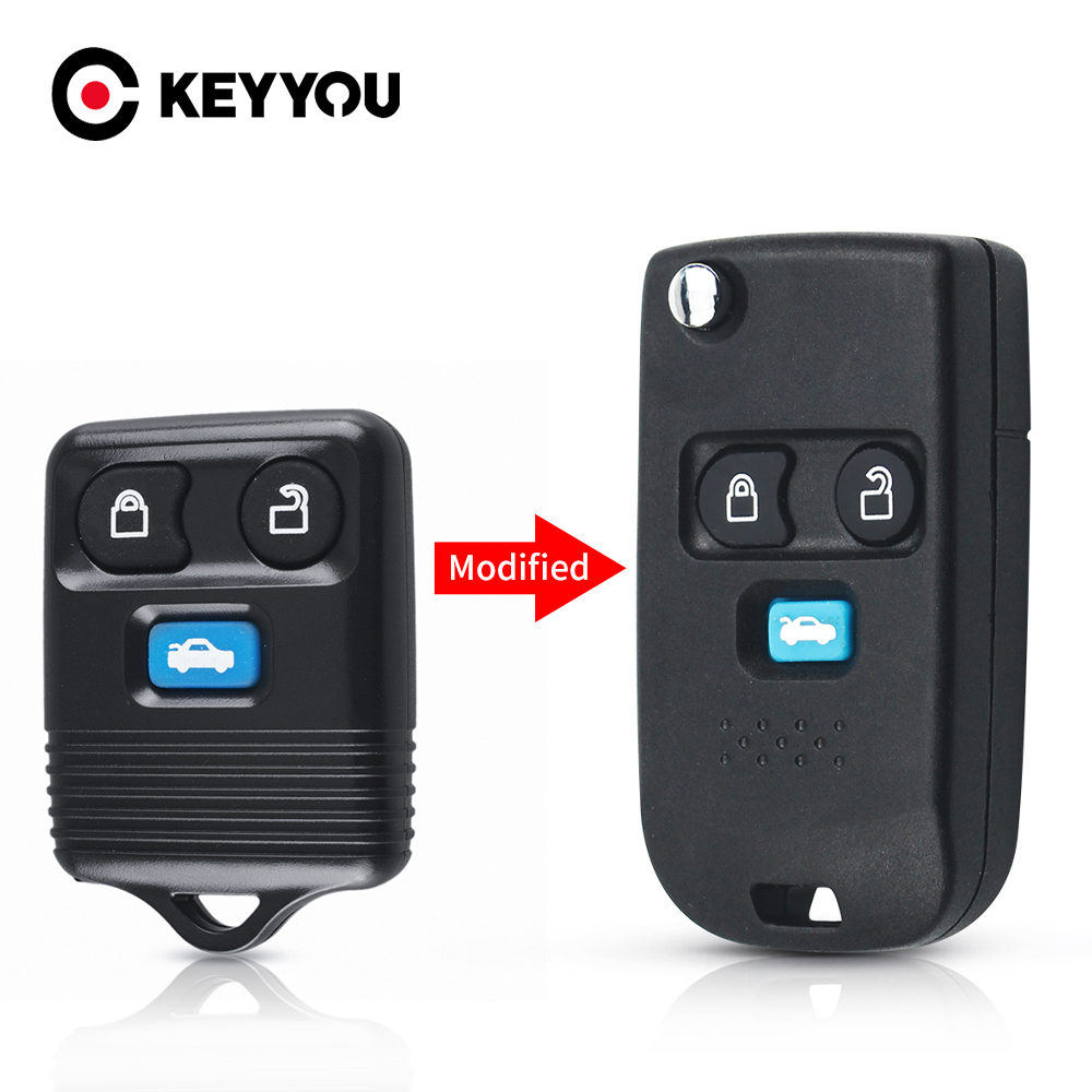 KEYYOU 3 Buttons Modified Flip For Ford Transit MK6 Connect 2000 2001 2002 2003 2004 2005 2006 Fob Remote Car Key Shell Keyless