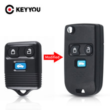 Keyyou 3 botões modificado flip para ford transit mk6 conectar 2000 2001 2002 2003 2004 2005 2006 fob remoto carro chave do escudo keyless