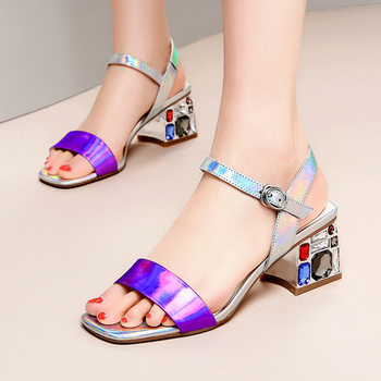 Woman Square Toe Sandals Female Ankle Buckle Strap Ladies Square Heel Women Fashion Crystal Shoes Women's Dazzling Footwear
