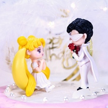 цена на Sailor Moon Anime Figure Chiba Mamoru Sailor Moon Wedding Dress For Girl Kids Wedding Cake PVC Collectible Action Figures Toys