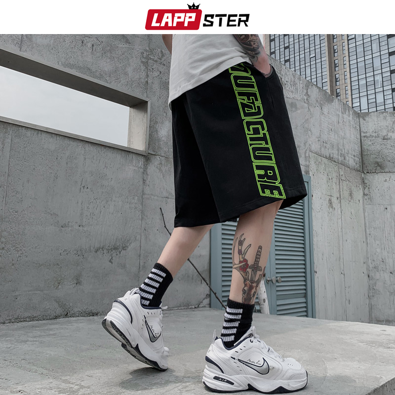 LAPPSTER Men Japanese Streetwear Side Striped Shorts 2020 Summer Mens Cotton Joggers Shorts High Waisted Hip Hop Sweatshorts