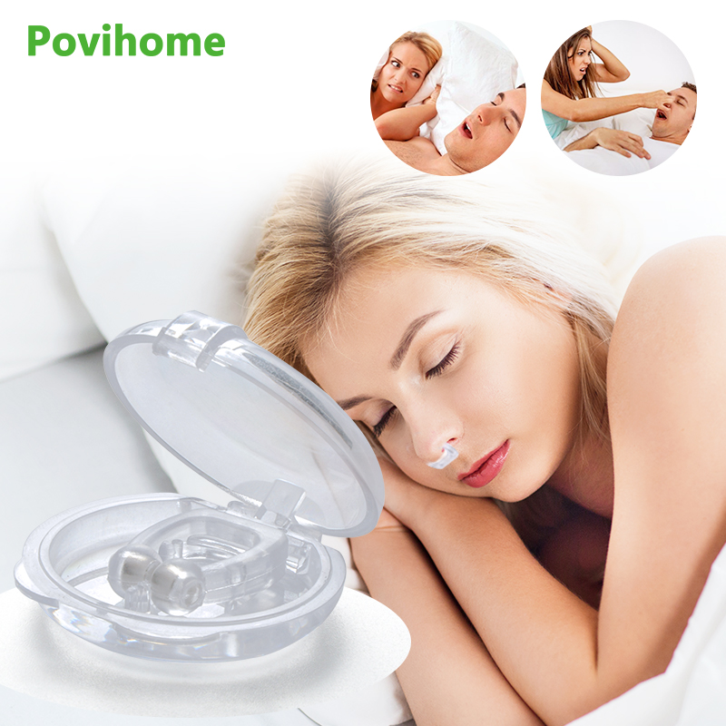2Pcs Silicone Magnetic Anti Snoring Nose Breathing Snore Stopper Antisnoring Device For Sleeping Apnea With Case D2167